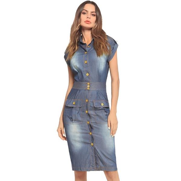 Compre Denim Camisa Vestidos Moda Mujeres Trabajo Vestido Ajustado Vestido De Solapa Cuello De Manga Corta Slim Jean Vestidos Largos A 4558 Del