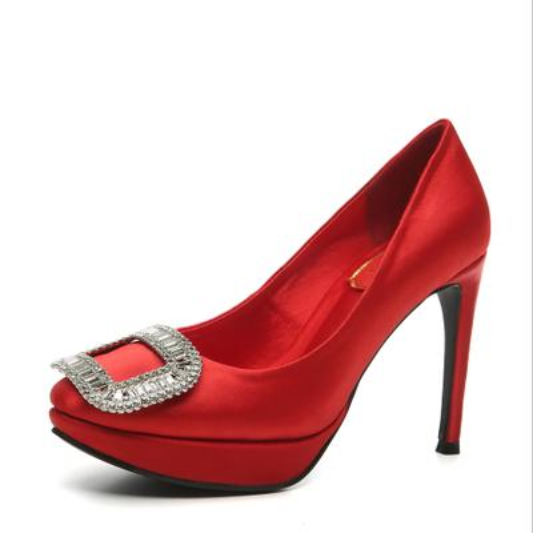 silk fine heel diamond square button platform high heel women bridal dress party club shoes 503