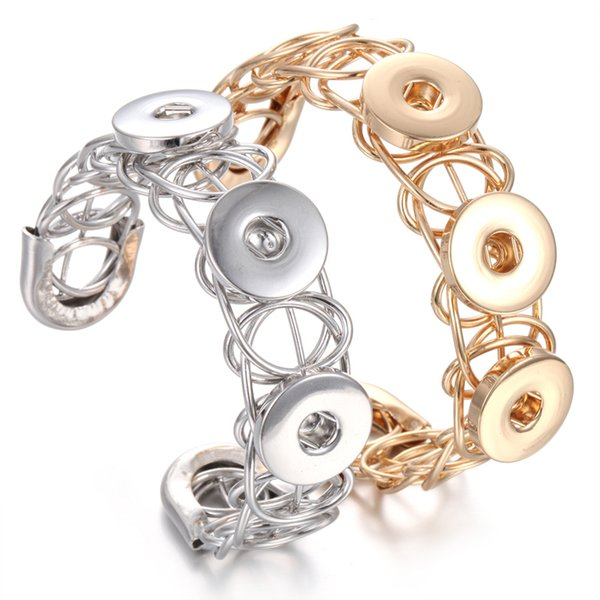 Charm Bracelets Gold Silver Snap Cuff Bracelet Bangle For Men Women Snap Button Bracelet 18mm Snap Jewelry