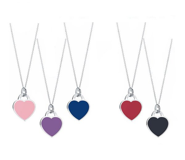 S925 sterling silver heart with heart-shaped heart pendant with the same enamel blue heart necklace manufacturer.