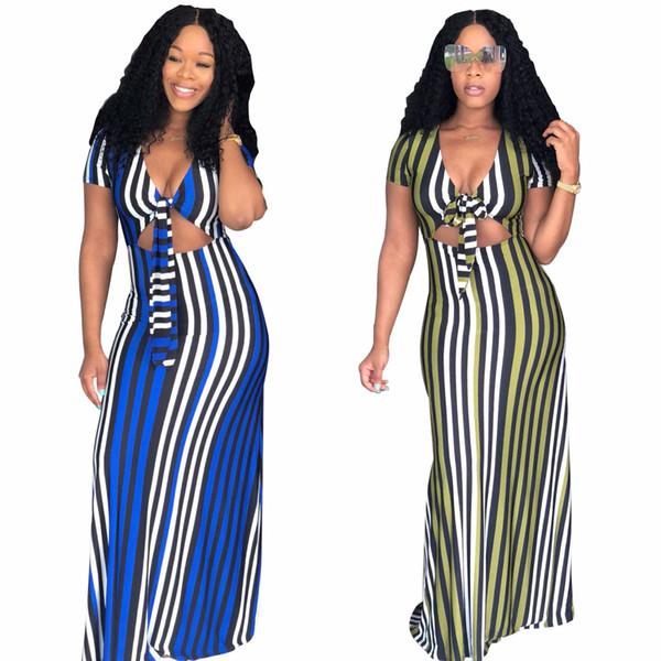 Women Striped Dress Bandage High Waist Summer Maxi Long Dress Ladies Short Sleeve Sexy V Neck