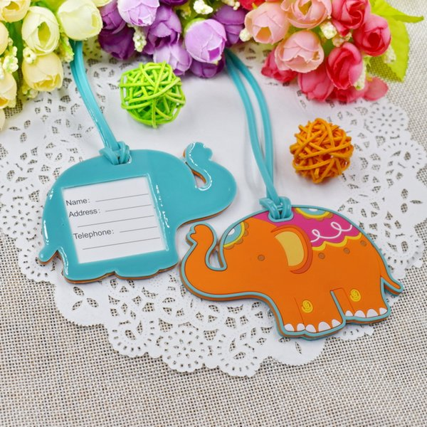 FREE SHIPPING 300pcs/Lot Lucky Elephant Luggage Tag Baby Christening Gift Wedding Baggage Tags Party Giveaways To Guest