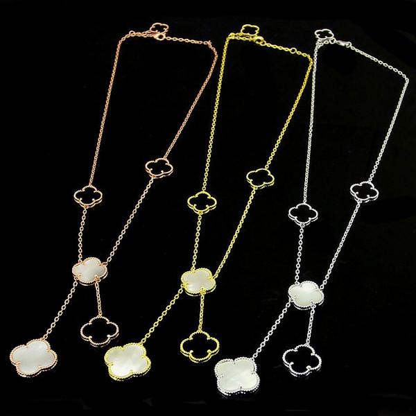 Neue Klee-Blumen-Halsbänder Schmucksachen für Frauen lange hängende Halskette Schwarz-weiße Mutter Shell Perle Anhänger Dropshipping