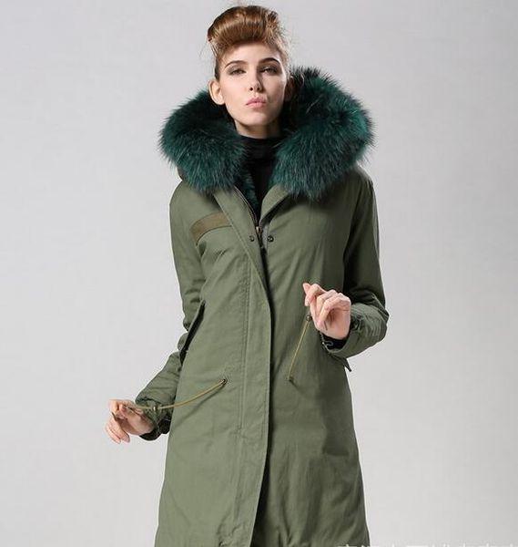 Hot sale Olive green rabbit fur lining army green canvas long women parkas with olive green raccoon fur ykk zipper