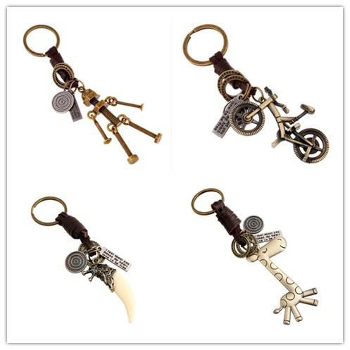 Vintage Woman Men Robot Bike Heart Wolf Tooth Keychain Genuine Leather Key Chains Handmade Bag Charm Holder Punk Car Keyring