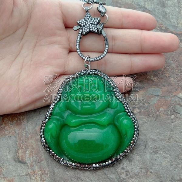 N071114 25'' GreenStone Black Pearl Chain Necklace Green Buddha Pendant