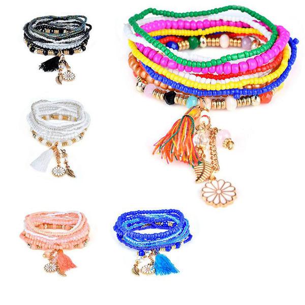 Braccialetti dei branelli di fascino della stella di stile della Boemia per le donne Boho Tassel Multilayer Simulated Pear Bracelet Jewelry Regalo del partito