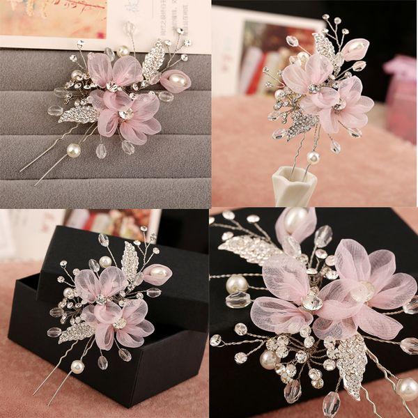 Dower me Pink Flower Bridal Hair Clip Pin Crystal Rhinestone Pearl Comb Wedding Accessories Handmade Tiara C18110801