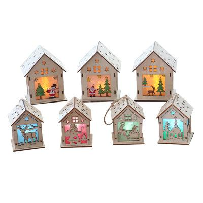 Wooden House christmas hanging house Christmas Decorations with Lights Mini model Hanging Decor Ornaments for Home