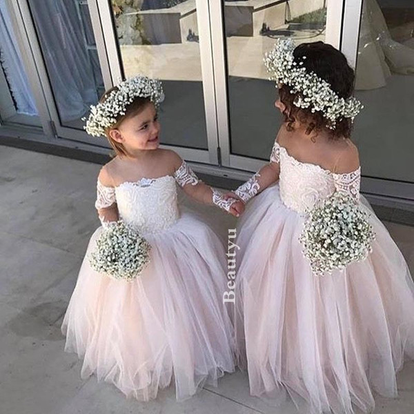 Princess Lace Ball Gown Flower Girls Dresses For Wedding Kids Vintage Long Sleeve Sheer Neck Cheap 2018 Baby Girl First Birthday Dress