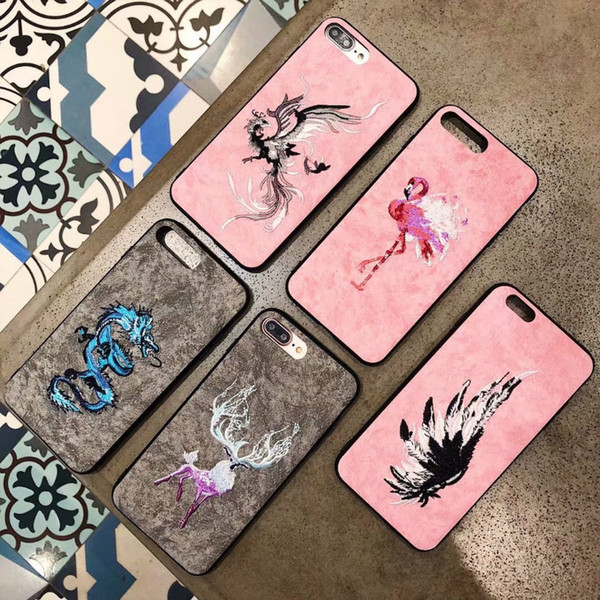 Embroidery Phone Case Flamingo Pink Panther Soft Silicon TPU Bumper Cover Cases for iPhone 6 7 7plus 8 X Samsung S8 S9
