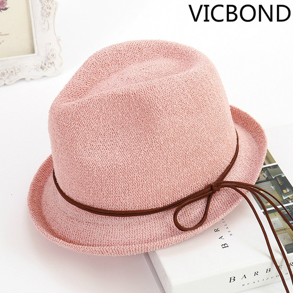 2018 new Korean version of circular yarn hat knitted curled small hat summer lady Beach sunscreen