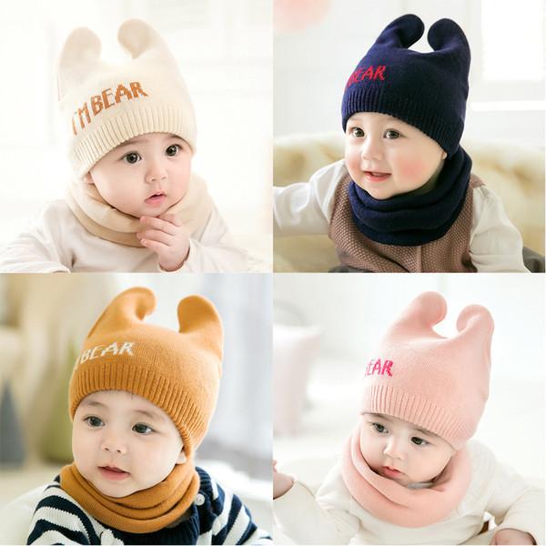 Süße Neugeborene Baby Mützen Hut Schals - Bär gestrickte warme Mütze Schal Set - Infant Cap schützt Ohr Baby Winter Caps + Schal