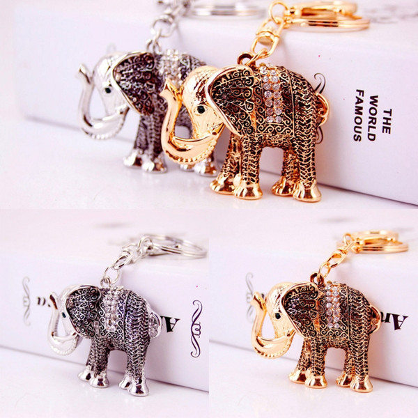 Small Gift Fashion Creative Retro Elephant Modeling Keychain Exquisite Car Metal Pendants Key Chain 2 Colors Wholesale D977Q