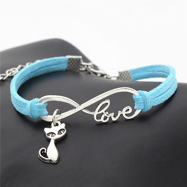 Hot Vintage Infinity Love Cat Fox Wrap Bracelets & Bangles for Women Men Punk Blue Leather Suede Rope Charm Wristband Jewelry Gift Wholesale