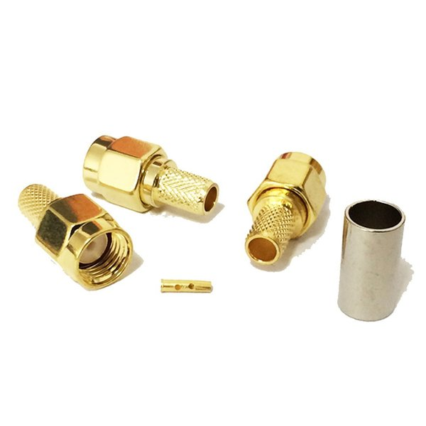 100 pcs RP SMA male plug RF coaxial connector crimp for RG58 Straight goldplated