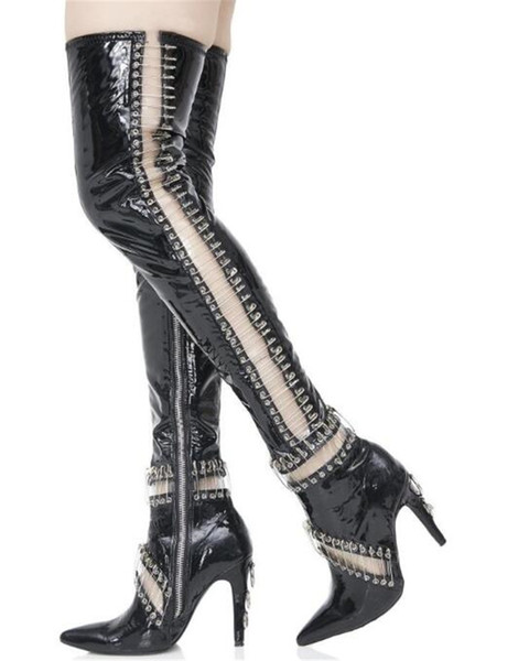 Newest Women Fashion Pointed Toe Black Patent Leather Pin Over Knee Gladiator Boots Cut Out Thigh High Heel Boots Dress Shoes Brown Ankle Boots Fly