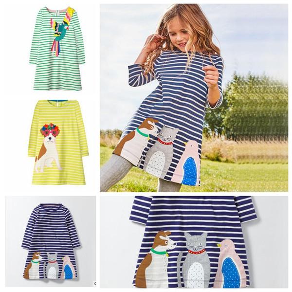 kids long sleeve dress spring Stripe Dress for Kids Animal dog Cartoon Printed Princess Kids Autumn Dress KKA5734