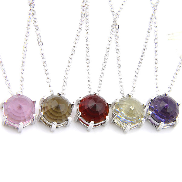 Optional Multi-color 6 Pcs/Lot Fashion Silver Jewelry Round Crystal BI-COLORED Tourmaline Gems Jewelry Necklace Pendants Chains for Lady