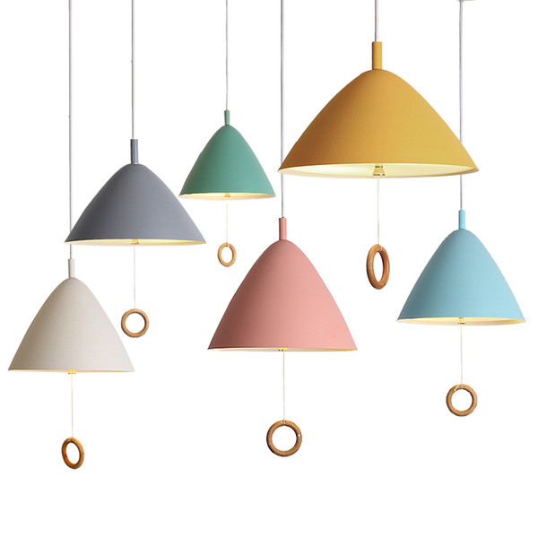 Modern simple Pull ring pendant lights colorful macaron hanging light single head droplight for kids room foyer restaurant pendant lamps