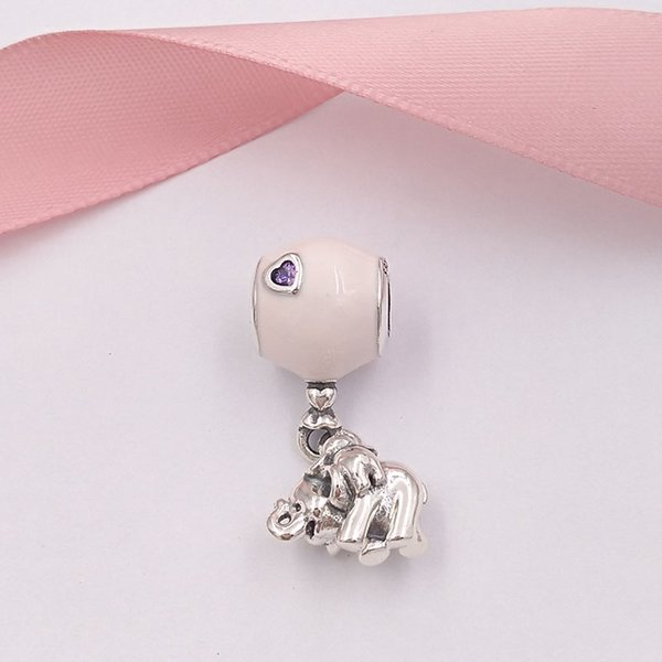 925 Sterling Silver Beads Elephant And Pink Balloon Hanging Charm Charms Fits European Pandora Style Jewelry Bracelets & Necklace