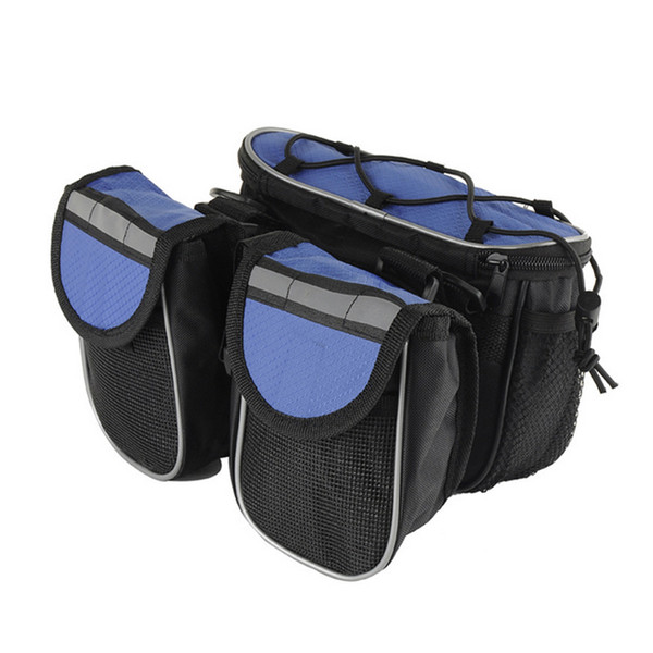 Portable Cycling Bike Front Tube Frame Bag Double Pouch Bicycle Saddle Bag Multifunction Bicycle Accessories