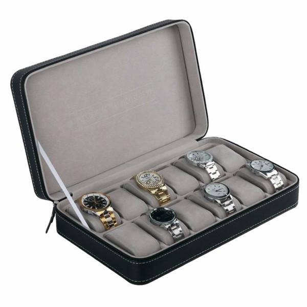 6/10/12 slots PU leather Jewelry Watch Box case Elegant Wrist Watch Present Gift Box Case Display Storage Organizer