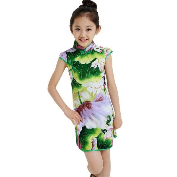 Traditionelles Kleid im chinesischen Stil Vintage Blumenmuster Mädchen Kleider Cheongsam Hochzeit Kostüm Sommer Kinder Kleidung 3-14Y