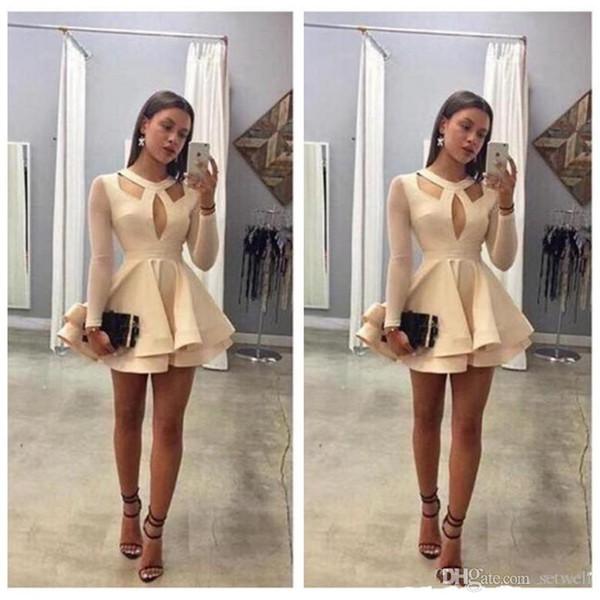 Mini-robes de soirée A-Line courtes faites sur mesure pas cher Illusion manches longues robes de soirée robe de bal robe de célébrité