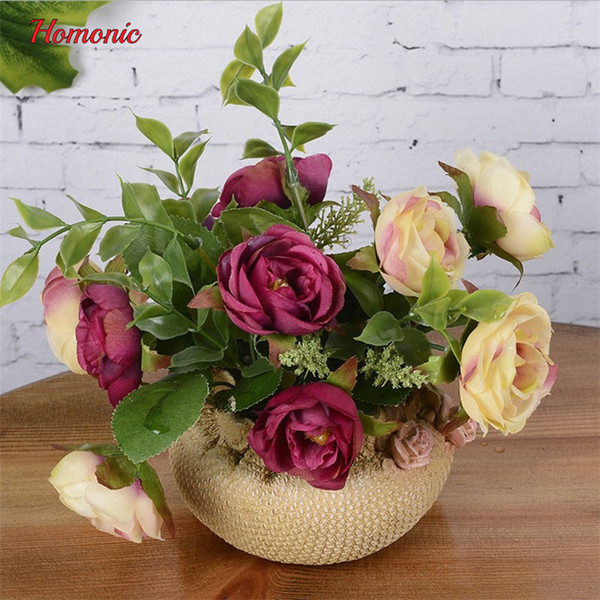 Artificial Flower Set Silk Roses Potted Artificial Bonsai Fake Flower Home Wedding Party wedding Table Christmas Halloween Decor