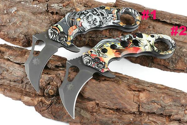 New X73 Karambit Claw folding Knife 440C Grey Titanium Coated Blade 3D Printed Steel Handle EDC Pocket Knives Gift Knife