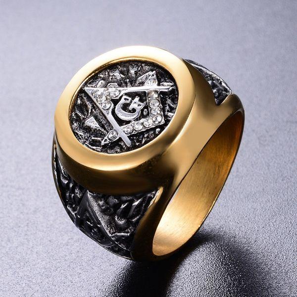 İki renk paslanmaz çelik Masonik Yüzük erkek takı elmas yüzük boyutu 7 8 9 10 11