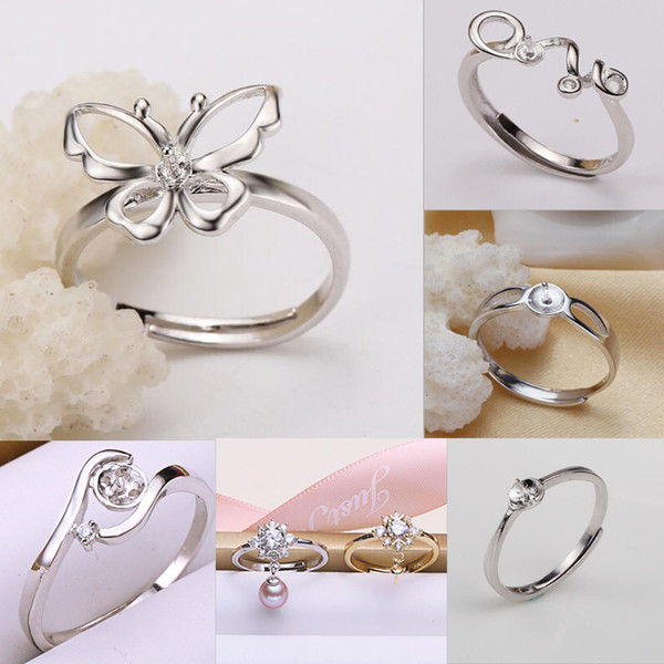 top popular MLJY Pearl Ring Settings 50% Sliver Rings Settings 6 Styles DIY Rings Adjustable size Jewelry Settings Christmas Gift 2019