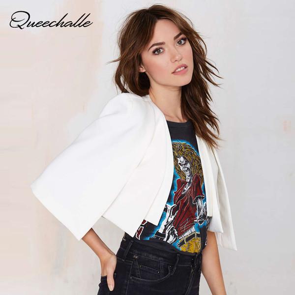 Queechalle XS-XXL 6 Size Women Fashion Jacket Autumn 2018 Ladies White & Black Short Cloak Cape Blazer Female Casual Suit Coat Y1891901