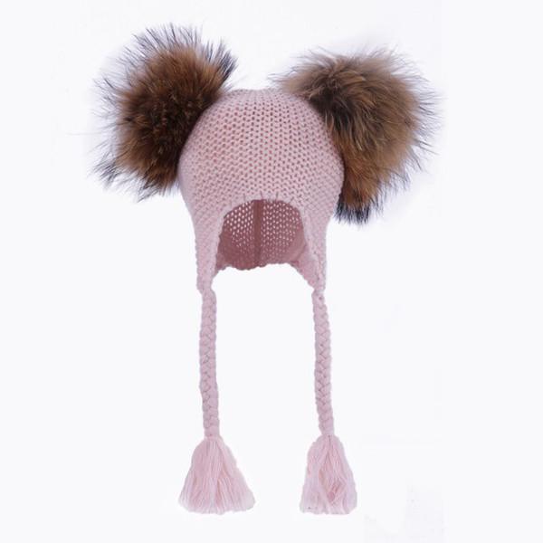 Kids Real Fur Pom Pom Hat Baby Winter Crochet Earflap Hat Girls Boys Knied Beanie Double Two Real Fur Pompom for Children