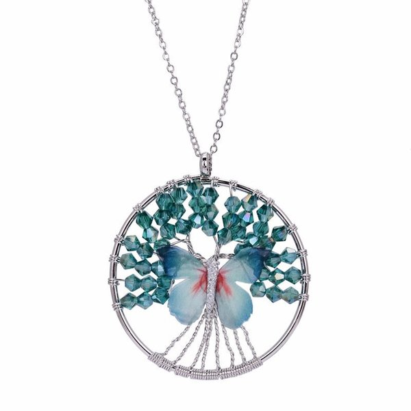 Cute Blue Pink Butterfly Tree Of Life Pendant Necklace Glass Beaded Long Chain Maxi Sweater Necklace For Women