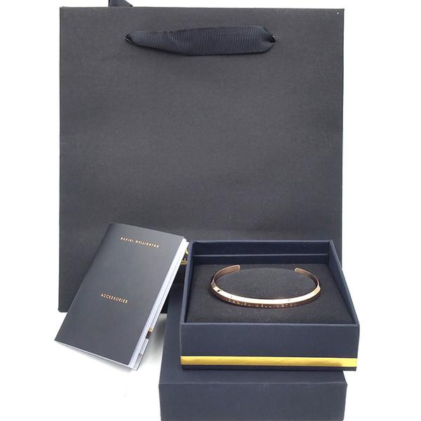 Mai sbiadire DW Bracciali in oro rosa argento pieno bracciale donna in acciaio inossidabile Bangle borse originali