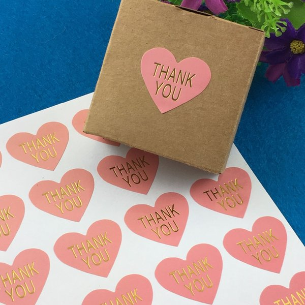 """1000pcs Wedding Love """"THANK YOU"""" labels Golden Sticker Labels paper Labels sealing Stickers packaging For Gifts/Cakes/Box/bags free shipping"""