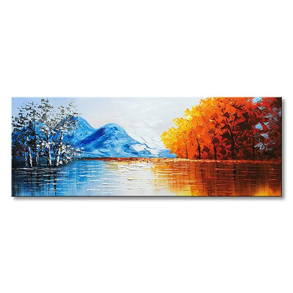 Pure Hand Painted Landscape Oil Painting on Canvas Textured Lake Scenery Wall Art Modern Style Art