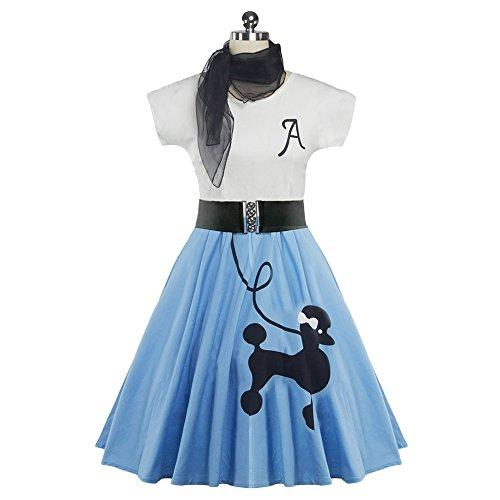 f577ff281e5 DressLily Retro Poodle Print High Waist Skater Vintage Rockabilly Swing Tee  Cocktail Dress