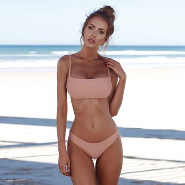 2018newest Sexy V Metal Bikini Set mujeres traje de baño Sandy Beach traje de baño colorido Velvet Bikini triángulo Bikini precio de fábrica