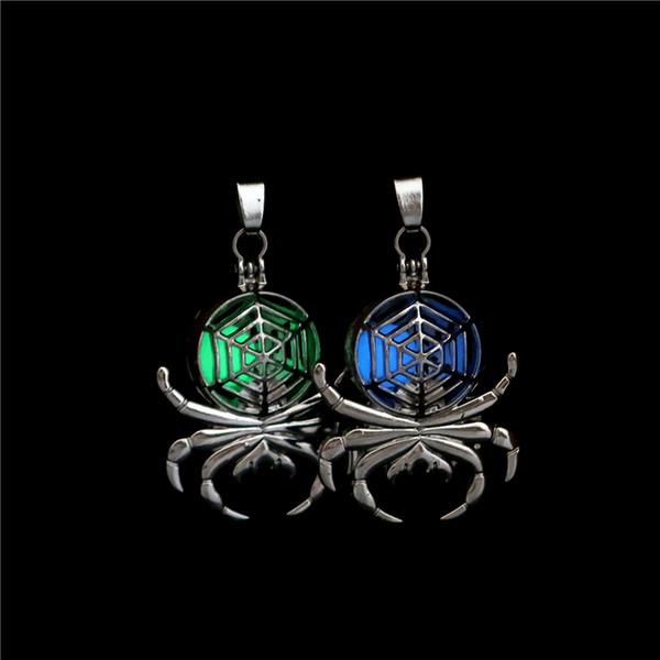 Argent Glow in the Dark Perles Magnet Spider Oysters Cage Locket Pendentif Aromathérapie Parfum Huiles Essentielles Diffuseur