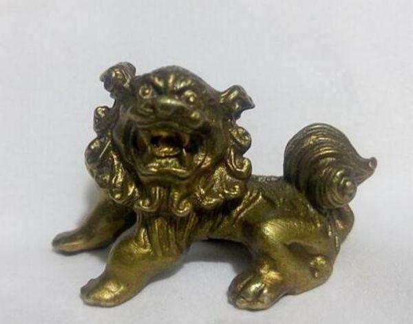 Freies verschiffen 4 cm Chinese Bronze Geschnitzte Wächter Foo Fu Hund Phylakterie Tür Löwe tier Skulptur