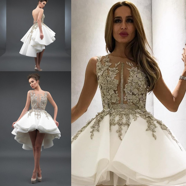 Stunning High Low Backless Homecoming Prom Dresses Appliqued Sheer Bateau Neck A Line Beaded Party Cocktail Dress Tiered Organza