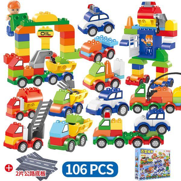 106 unids / set Coches Bloques de Construcción 106 unids + 2 rode placa digital tren coche niños juguetes ladrillos Inteligencia Educativa Favor del Partido Seguro AAA1274
