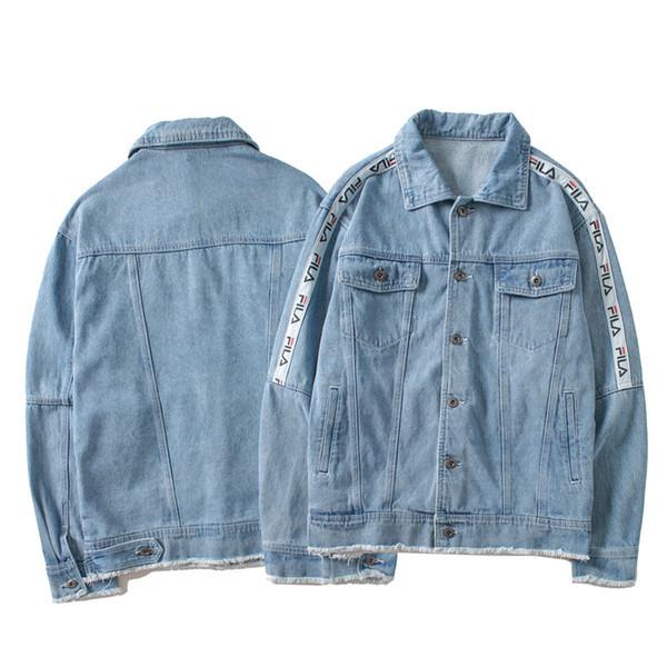 Holes Armband Hip Hop Denim Jean Jackets Men Women Fashion Bomber Man Jacket Men's Windbreaker Streetwear Couples Dress