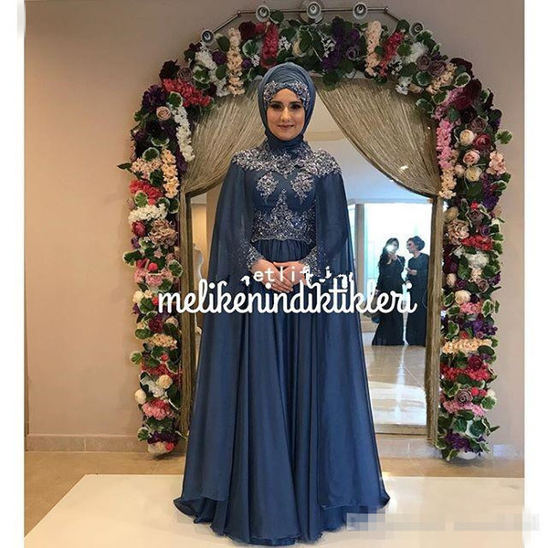 Muslim Dubai Style Long Sleeve Appliques With Wrap Evening Dresses 2018 High Neck A Line Formal Prom Occasion Dresses Custom Made