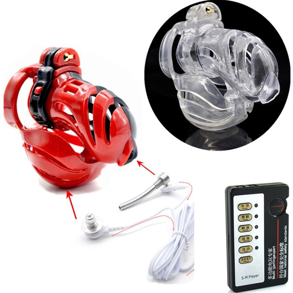 Plastic Male Electric Shock Themed Chastity Cage Scrotum Bondage Cage Testicles Restraint Stimulation Chastity Lock Sex Toys for Men G7-2-23