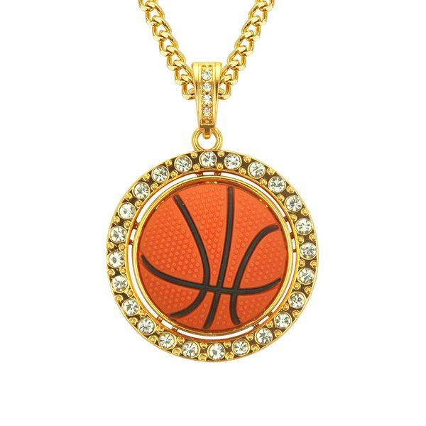 New Men's Personality Turned Basketball Pendant Necklace European and American Hip Hop Jewelry fast free shipping new arrival
