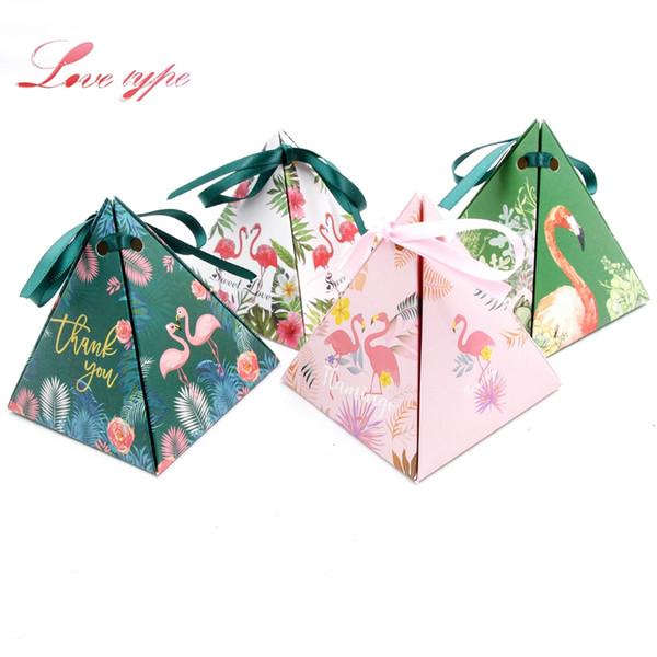 Evento Scatole per feste Borse 10pcs / lot Regalo bello Contenitore di caramella 4 Stili Flamingo Tema Compleanno Party Decor Bomboniere e scatole regalo